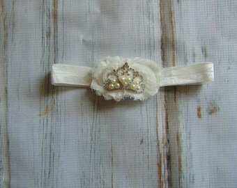 Princess Tiara Headband-Ivory Tiara Headband