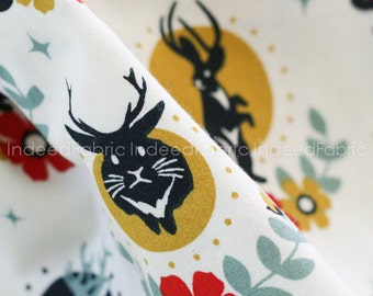 DOUBLE GAUZE, Organic Jackalope Cream- Tall Tales Collection, Birch Fabrics, Certified Organic Cotton, By the Half-Yard