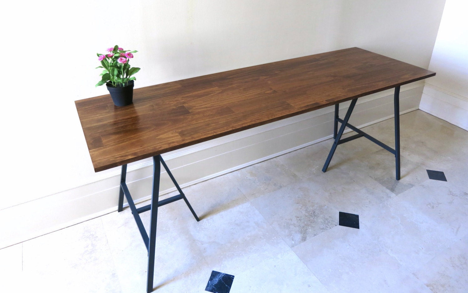 Long desk or narrow dining table long table by goldenrulenyc for Thin dining table