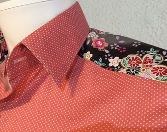 Shirt man slim cotton pink and dots trim authentic Japanese fabric