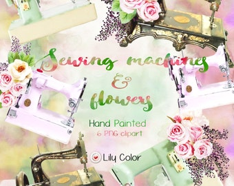 Sewing machine clipart / Sewing machine with bouquet of roses  /  High Quality 300ppi / Big size / PNG.