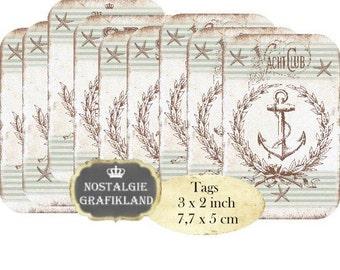 Maritime Tags Instant Download digital collage sheet T087 digital Tags Beach Sea Yachtclub Ocean Anchor maritim nautical