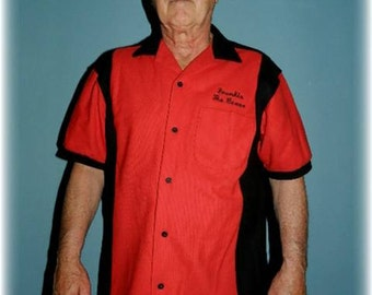 "Vintage ""Frankie the Beave"" Men' Bowling Shirt in Red/Black Cotton"