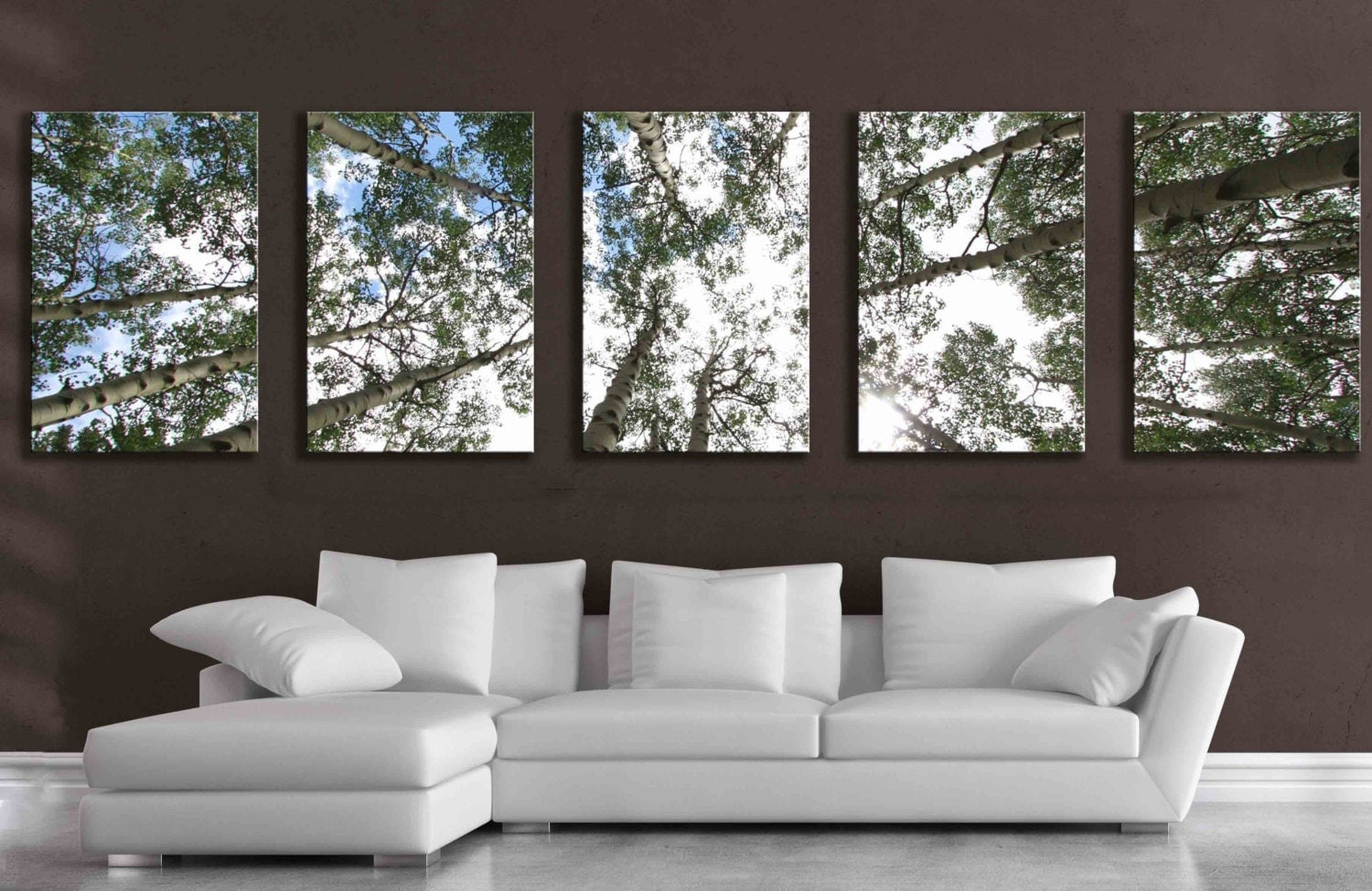Large 5 panel wall art aspen tree canvas decor five multipiece for Big wall art