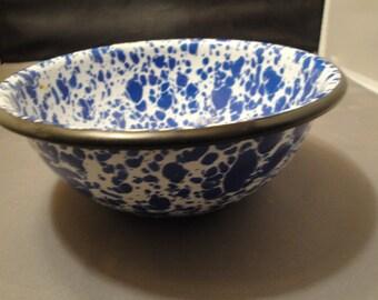 Graniteware/Enamelware Colbalt Blue And White Swirl Small Dish Or Pan