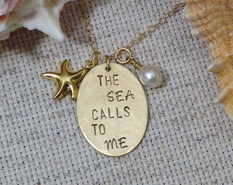 The Sea Calls To Me Gold Necklace, Beach Jewelry, Gift for Mom, Sister Gift, Nautical Jewelry, Birthday Gifts, Beach Girl