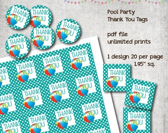 Pool Party - Thank You tags