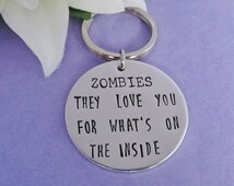Zombie Keyring - Walking Dead Keychain - Zombie Keychain - Walking Dead Keyring - Couple Keyring - Boyfriend Gift - Handstamped Keyring