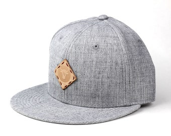 Heather Grey Wool Blend Snapback Cap