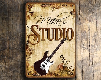 Custom GUITAR STUDIO SIGN, Customizable Guitar Studio Signs, Vintage style Guitar Studio Sign, Guitar Studio Signs, Music Sign, Guitar Signs