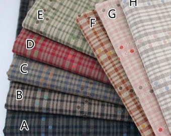 140cm / 55 inch Width,Vintage  Dyed Check / Gingham/ Strip/ ot Jacquard Cotton Fabric, Half Yard