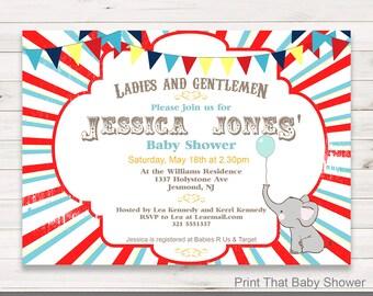 Baby Shower Invitation - Circus Baby Shower - Printable Invitation - Baby Shower Invites - Circus Invitation - Circus