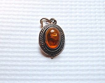 Sterling Silver Amber Pendant #4074