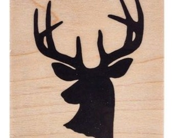 Stag Silhouette Rubber Stamp, Buck Rubber Stamp, Deer Wood Mounted Rubber Stamp