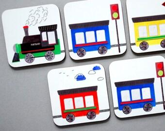 SALE! Train Coasters Set of 4
