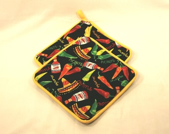 Chile Sauce Pot Holders/Hot Pads - Jalapeno/Picante/Sombrero Item - Very Thick - Kitchen/Housewares Item - Makes Great Gift!  Gifts under 15
