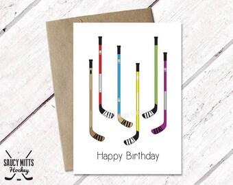 Hockey Birthday Card - Hockey Sticks