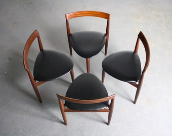 Set Of 4 Rosewood Triangular Dining Chairs By Hans Olsen For Frem Rojle
