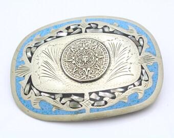 Vintage Western Belt in Blue Enamel and Mother of Pearl in Alpaca Metal. [8330]