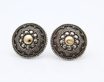 Handcrafted Tribal Shield Button Earrings in Silver and Brass. [8763]