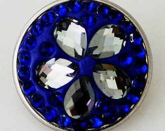 NEW! KB2436 Raised Faceted Clear Crystal Petals Set on Small Navy Blue Crystals