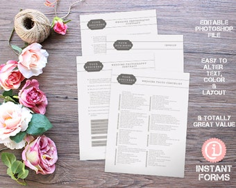 Wedding Photography Forms and Legal Contracts - IF037 - INSTANT DOWNLOAD. You'll receive 4 psd files