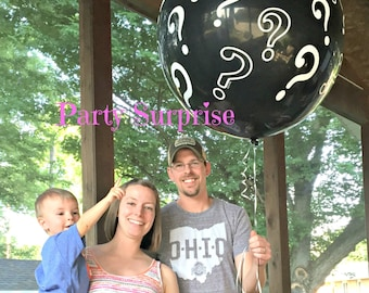 Gender Reveal Balloon Jumbo Black Question Mark Gender Reveal with Pin and Memory Tag, He or She, Girl or Boy gender reveal party balloons
