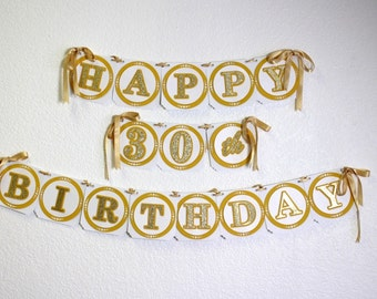 Gold Happy 30th Birthday Banner, Birthday, Glitter Gold, Handcrafted Party Decor, Party supplies