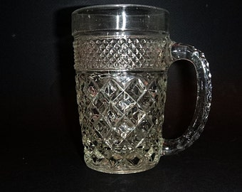 Beer glass, ANCHOR HOCKING, Wexford, Large Mug, Pair pressed glass pattern