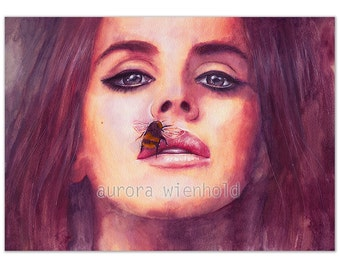 Insane - PRINT - different sizes - HANDSIGNED print from watercolor (music portrait musician female femme woman girl lana del rey inspired)