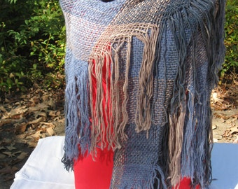 Handwoven Wool Triangle Shawl in Blue and Gray
