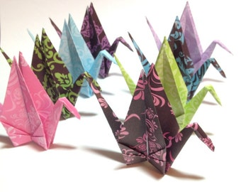 Origami Cranes, Custom Mobiles, Bright Colors, Origami Gifts, Hanging Paper Cranes, Bird Mobiles for Kids & Babies, Custom Origami