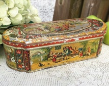 Rare Antique Rip Van Winkle Homles & Coutts Mustard Tin Litho Box, Decorative, Advertising Canister, Nursery Rhyme Fairy Tale, decor