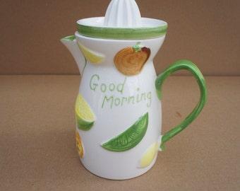 Napco Ware Japan C5352 ceramic juice pitcher citrus reamer juicer fresh orange juice good morning juice jar server container strainer