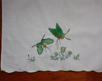 Vintage Towel with Dragon Fly/Butterfly Applique