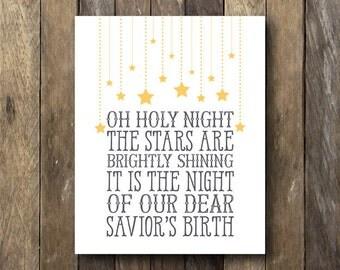 Christmas Printable - Oh Holy Night - Christmas Art Print - Printable Christmas Art