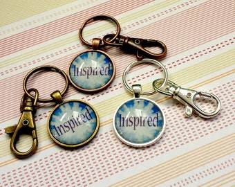 SALE 25% off! INSPIRED Metal and Glass Keychain - Great Stocking Stuffer!