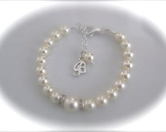 Bridesmaid Bracelet Gift Personalized Bridal Jewelry Swarovski Ivory Pearl Bracelet Wedding Jewelry