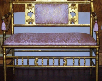 Vintage Italian Settee, Gold Gilded, with Upholstered Seat area, Bedroom Settee Bench Upholstered Pink, Italian Style, Early 20th Centrury