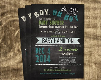 Baby boy shower invitation,  Co-ed Baby Shower, Chalkboard, Custom Invitation, Printable Invitation, Blue and Green, Baby Boy,