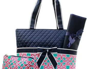 Quilted Geometric 3pc Diaper Bag Set WITH FREE MONOGRAM