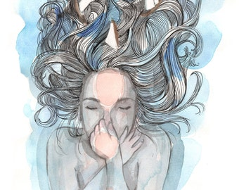 Original Watercolor Artwork - hair with ships