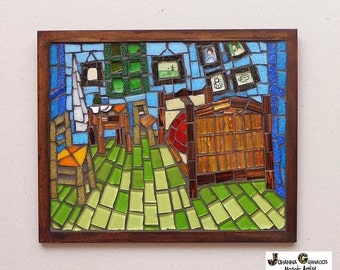 "Mosaic Wall Art, Glass Mosaic, Wall Hanging, Handmade, Home decor. Bedroom in Arles. Inspired by Van Gogh's paintings (about 9.8""x7.9"")"