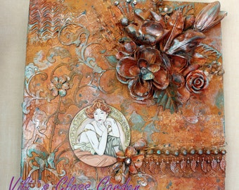 "Lady in gold"" from Triptych ""Beauties by Mucha"" Mixed media on wooden base"