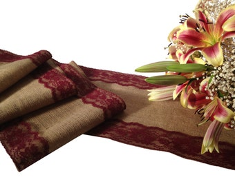 """Burlap Table Runner, BURGUNDY RED/ WINE Lace - Wedding Table Runner; 12"""" Width; Lace on Edges - Country/Farmhouse Home Decor, Rustic Wedding"""