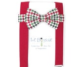 Christmas Bow Tie and Suspenders, Red and Green Houndstooth Bow Tie, Red Suspenders, Toddler Suspenders, Boys, Kids, Baby, Child, Photo Prop