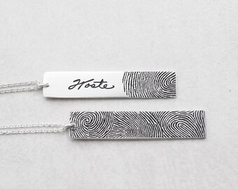 actual fingerprint bar necklace personalized fingerprint necklace memorial jewelry meaningful mothers day gifts