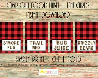Camping Birthday Buffalo Check Plaid Printable Red and Black Table Tent Cards Labels by Sunshinetulipdesign