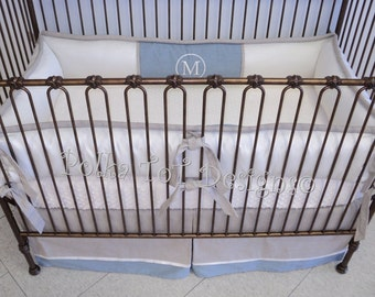 Linen Look & Faux Silk Baby Bedding : Mateo  Combines textures for a luxe crib set