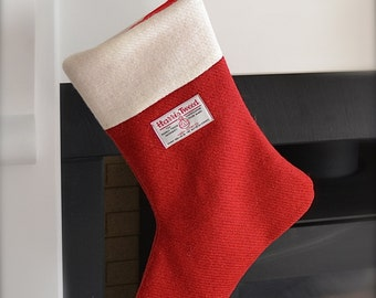 Traditional Christmas Stocking, Harris Tweed Christmas Stocking, Red and White Christmas stocking, personalisation available
